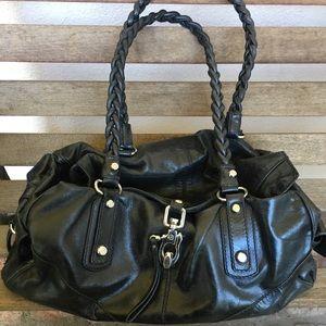 Francesco Biasia Black Leather Satchel